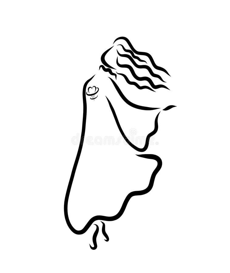 Młoda dziewczyna, taniec lub sen, czarny nakreślenie royalty ilustracja