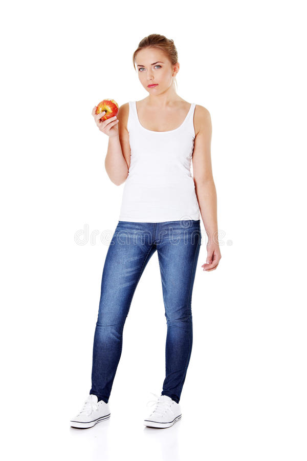 Młoda dziewczyna target303_1_ jabłka. zdjęcia royalty free