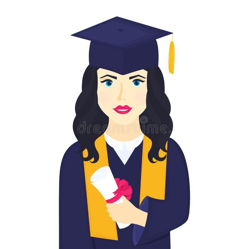 Młoda dziewczyna uniwersyteta absolwent w skalowanie nakrętce z kitki, togi chwytami w jej ręki i ilustracji