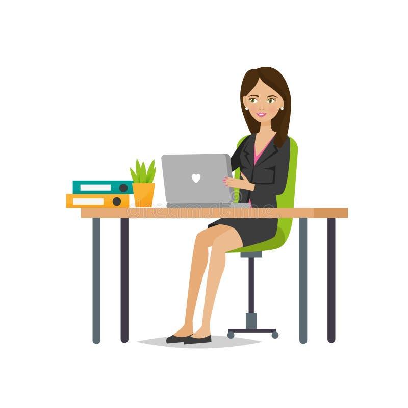 Młoda dziewczyna urzędnik raduje się w sukcesie, pracuje ilustracja wektor