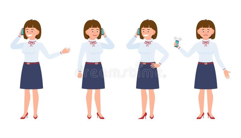 Młoda dziewczyna urzędnik w formalnej odzieży używać smartphone ilustracji