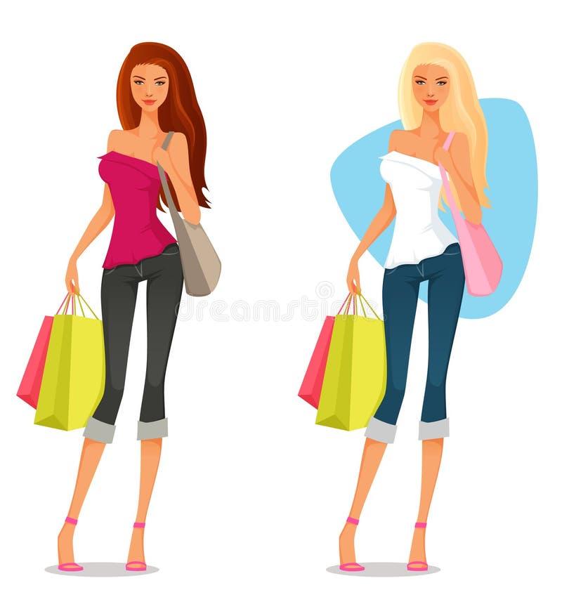 Młoda dziewczyna w lecie odziewa, robiący zakupy ilustracji