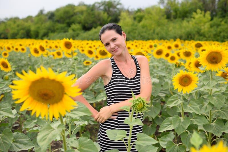 Młoda dziewczyna w pasiastej sukni na tle pole słoneczniki obrazy stock