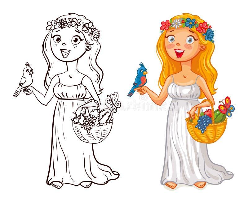 Młoda dziewczyna w wianku z ptasim i owocowym koszem ilustracji