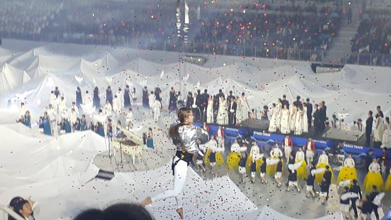 Młoda dziewczyna wykonuje akrobatycznych elementy w wietrzy pierścionek podczas festiwalu obrazy royalty free