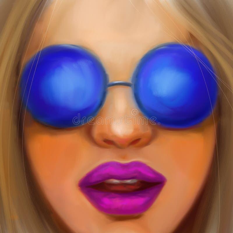 Młoda dziewczyna z ciemnym blondynem w round szkłach w stylu obrazu olejnego obraz royalty free