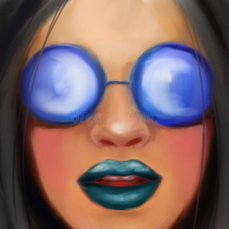 Młoda dziewczyna z czarni włosy w round szkłach w stylu obrazu olejnego obraz stock
