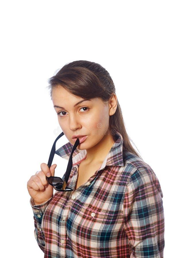 Młoda dziewczyna z gogle w ręce obraz stock