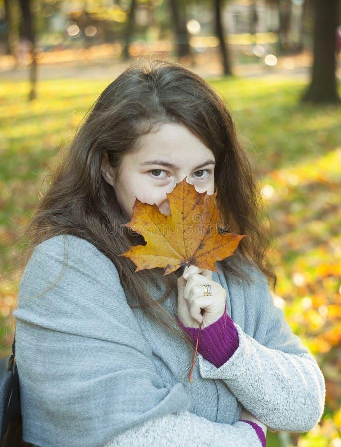 Młoda dziewczyna z jesień liściem zdjęcie stock