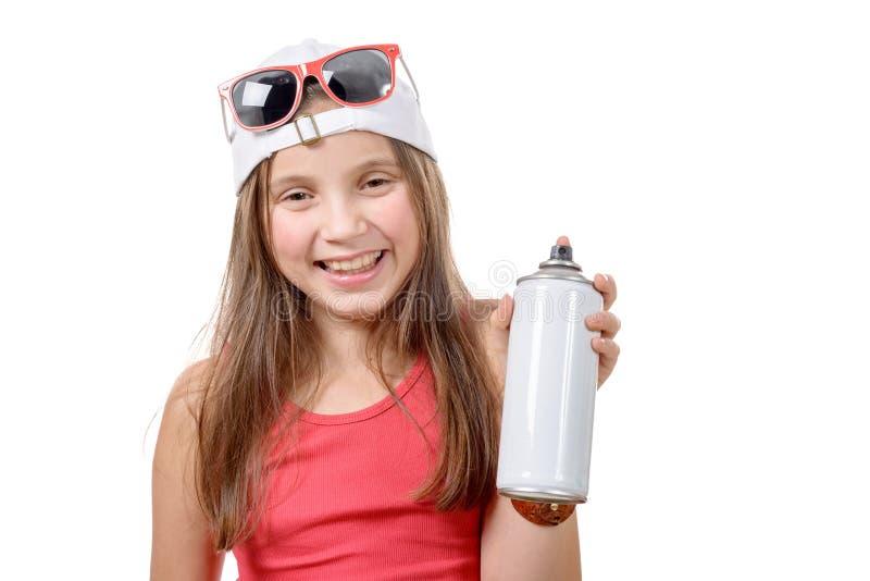 Młoda dziewczyna z kiści puszką obrazy royalty free