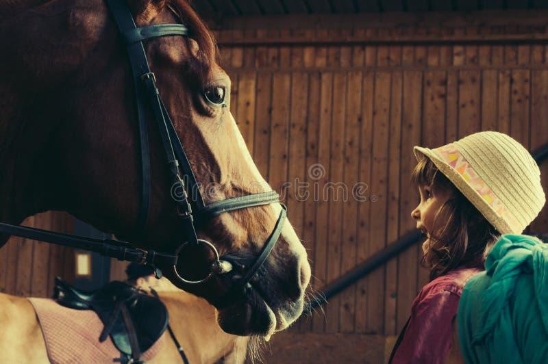 Młoda Dziewczyna z koniem obrazy royalty free