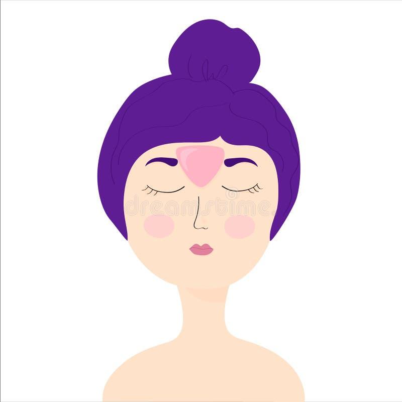 Młoda dziewczyna z kosmetyk łatami na czole między oko zamkni?ta dziewczyna domowa opieka, skincare, dziewczyny czułość dla jej t ilustracja wektor
