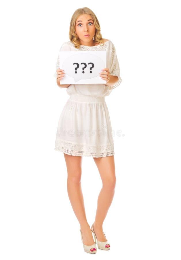 Młoda dziewczyna z pytanie sztandarem obraz royalty free