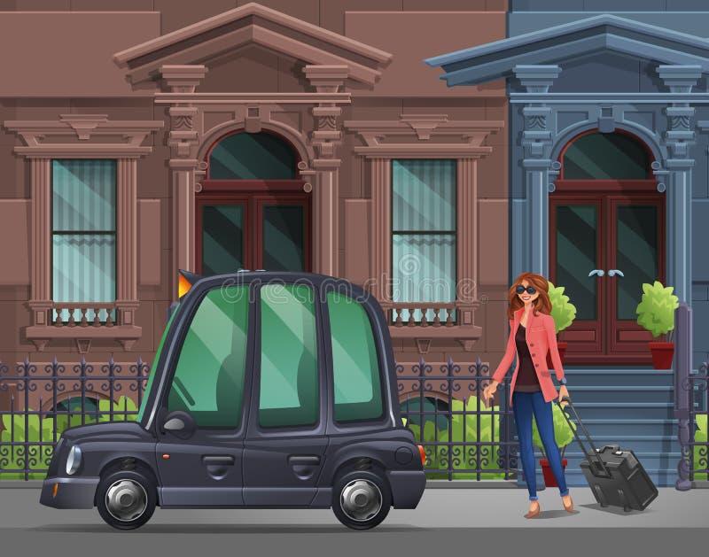 Młoda dziewczyna z walizką iść w Londyńskim taxi dla pracującej wycieczki na tle domy royalty ilustracja