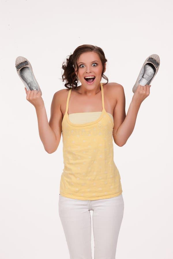 Młoda Emocjonalna kobieta Z butami zdjęcia royalty free