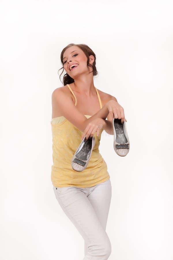 Młoda Emocjonalna kobieta Z butami zdjęcia stock
