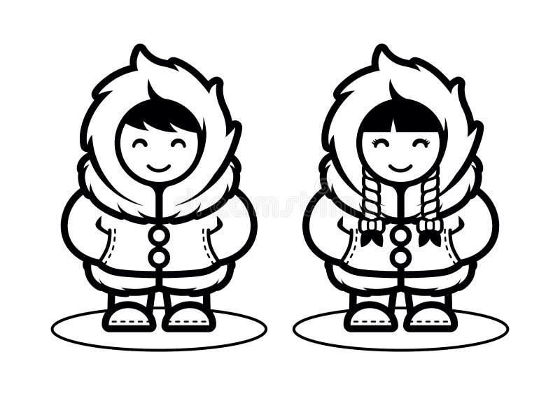 Młoda Eskimoska Śliczna pary ilustracja w kreskówka stylu Arktyczni ludzie żyje w biegunu północnego płaskim projekcie ilustracji