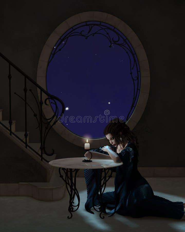 Młoda got kobieta w blasku świecy ilustracji