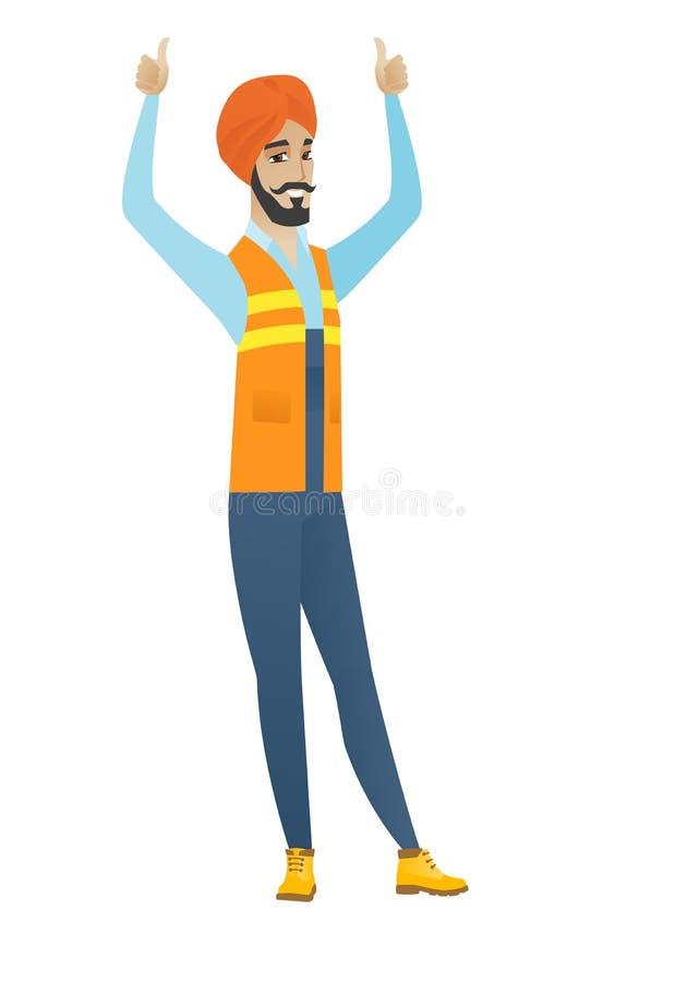 Młoda hinduska budowniczy pozycja z nastroszonymi rękami up ilustracja wektor