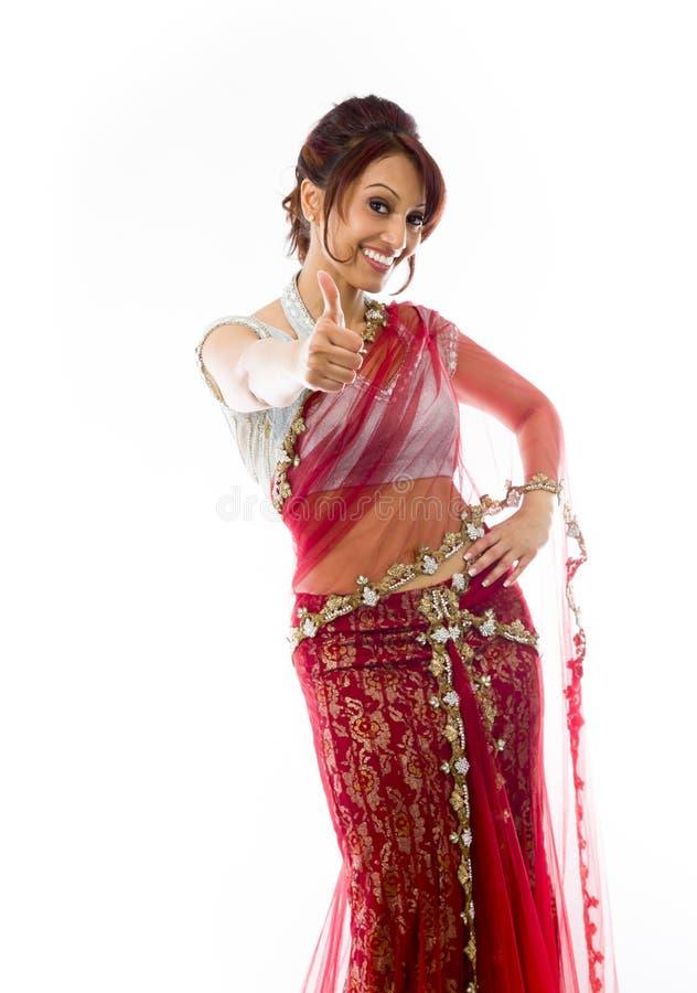 Download Młoda Indiańska Kobieta Pokazuje Kciuka Ono Uśmiecha Się I Znaka Up Obraz Stock - Obraz złożonej z przód, human: 41951523