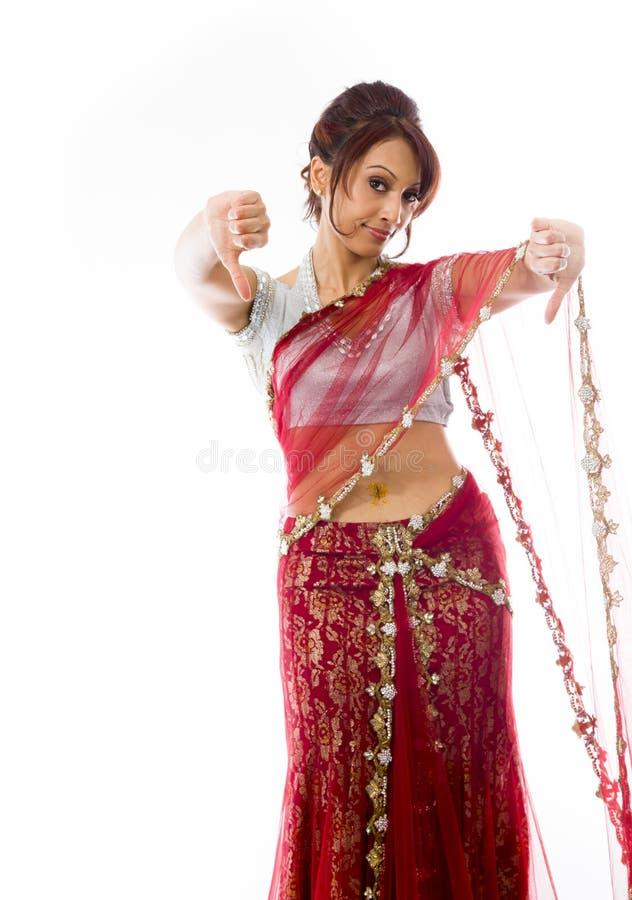 Download Młoda Indiańska Kobieta Pokazuje Kciuki Zestrzela Znaka Od Oba Ręk Obraz Stock - Obraz złożonej z cięcie, zakazujący: 41951487