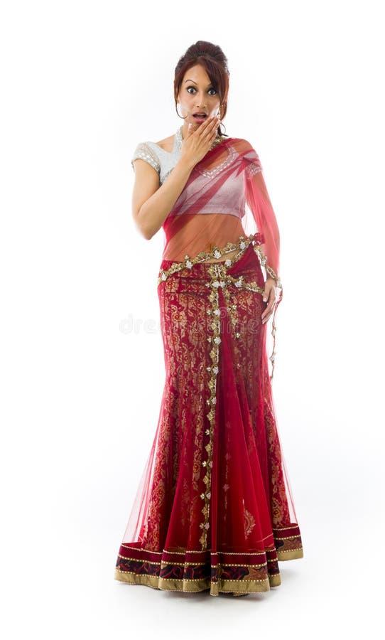 Download Młoda India Kobieta Z Szokującym Wyrażeniem Odizolowywającym Nad Białym Tłem Zdjęcie Stock - Obraz złożonej z jeden, ręka: 41951652