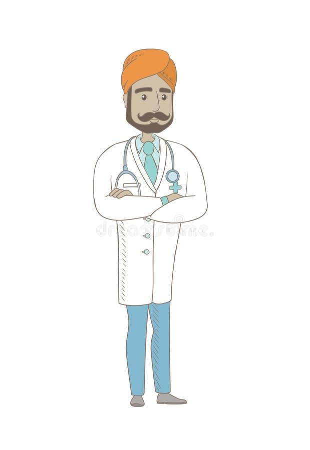 Młoda indyjska ufna lekarka z fałdowymi rękami ilustracji