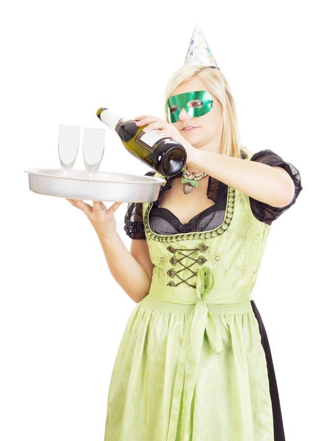 Młoda kelnerka z tacą obraz royalty free