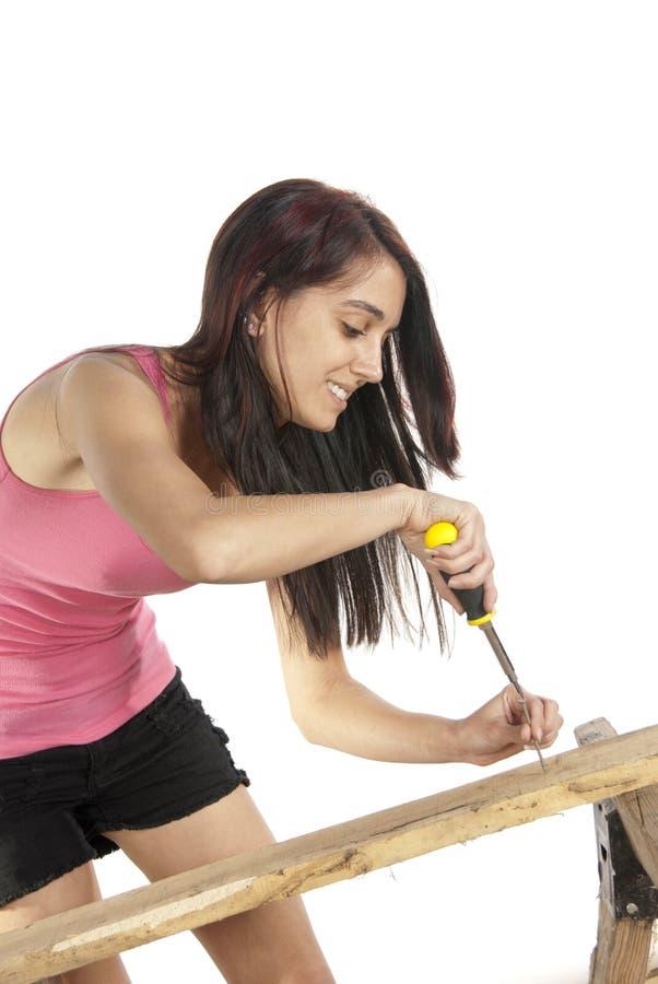 Młoda kobieta śrubokrętu kładzenia śruba w drewno zdjęcia royalty free