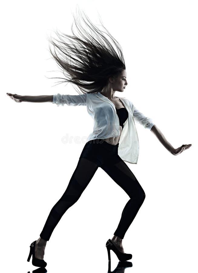 M?oda kobieta baletniczego tancerza t?a sylwetki nowo?ytny taniec odizolowywaj?cy bia?y cie? zdjęcia stock