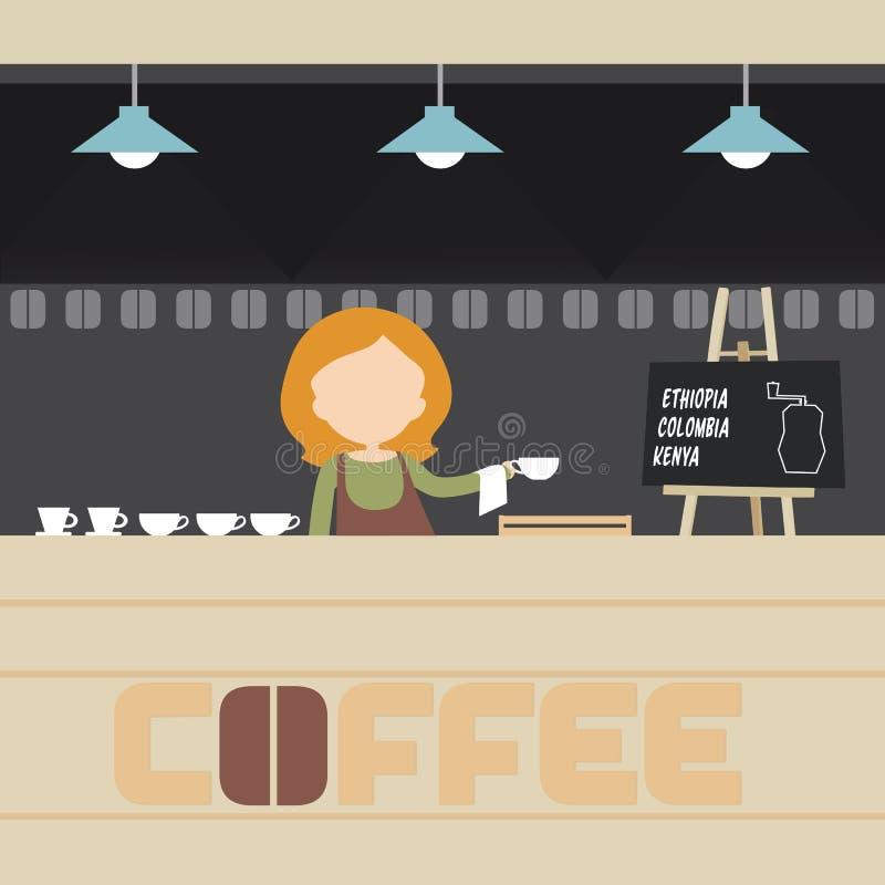 Młoda kobieta - barista narządzania kawa w kawiarni z stołem, lampy ilustracja wektor