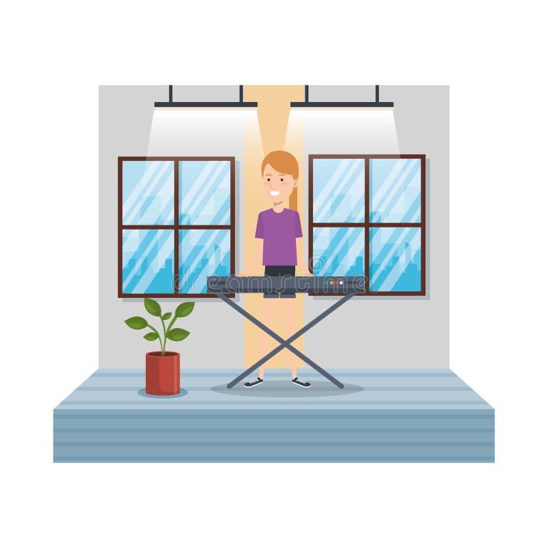 Młoda kobieta bawić się pianino w domu ilustracja wektor