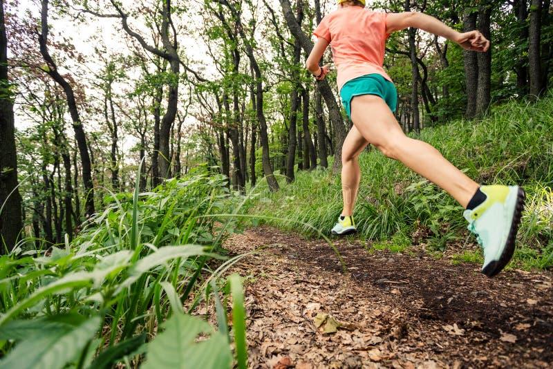 Młoda kobieta bieg w zielonym lasowym wytrzymałość sporcie obraz royalty free