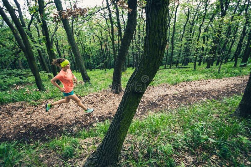Młoda kobieta bieg w zielonym lasowym wytrzymałość sporcie obrazy stock