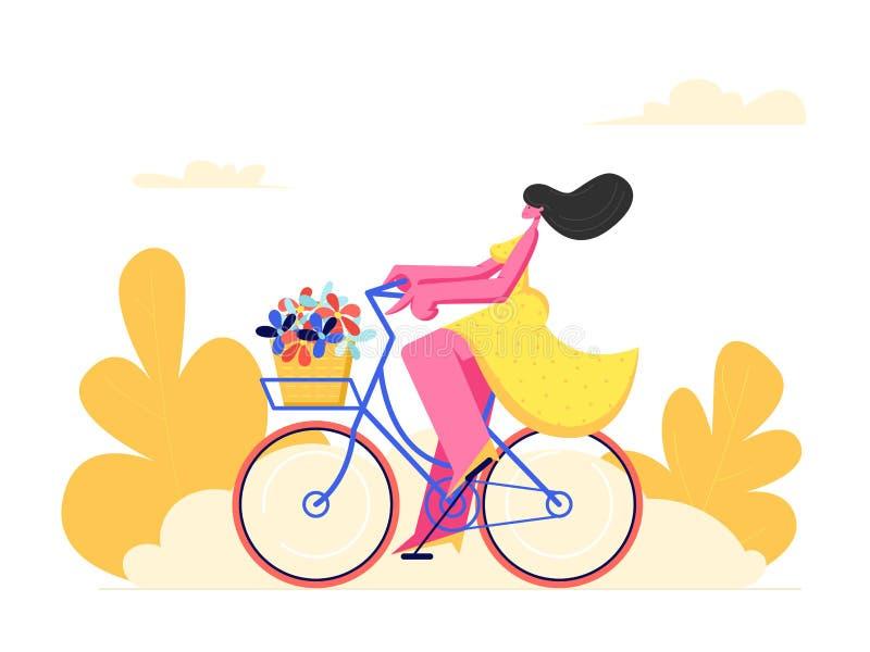 M?oda Kobieta charakteru Je?dziecki bicykl z kwiatami w Frontowym koszu na Parkowym tle Aktywna dziewczyna Cieszy si? rower przej ilustracji