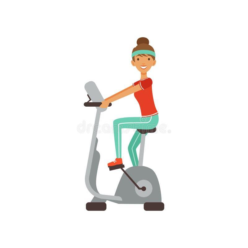 Młoda kobieta charakteru szkolenie na ćwiczenie rowerze, dziewczynie pracującej w sprawność fizyczna klubie lub gym kolorowym wek ilustracja wektor