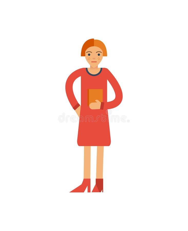 Młoda kobieta chwyta książki ikona ilustracja wektor