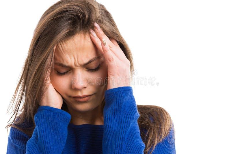 Młoda kobieta cierpi kierowniczą obolałość obrazy stock