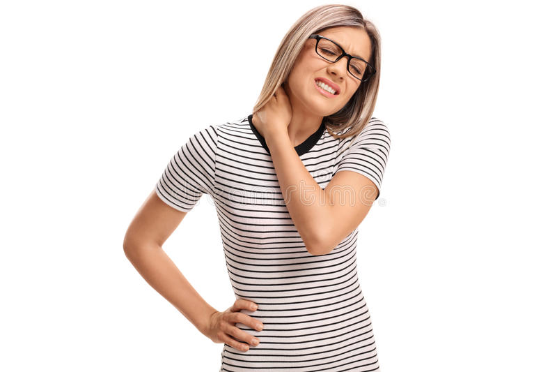 Młoda kobieta doświadcza szyja ból zdjęcia stock