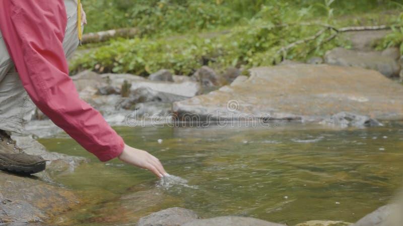 Młoda kobieta dotyka wodę rzeka w lasowym Młodym turyście dotyka rzeczną rękę zdjęcie stock