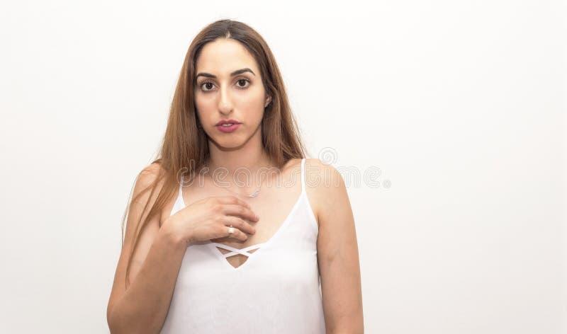 Młoda kobieta, headshot, odizolowywający obrazy stock