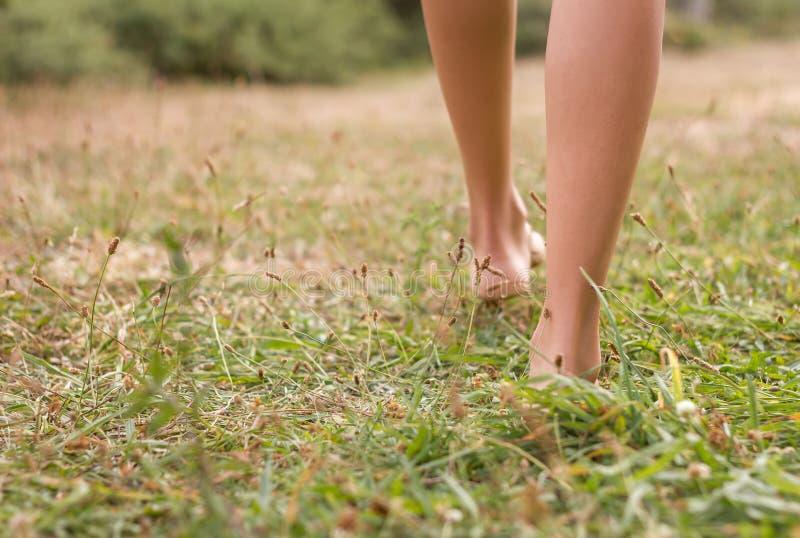Młoda kobieta iść na piechotę odprowadzenie na trawie zdjęcia royalty free