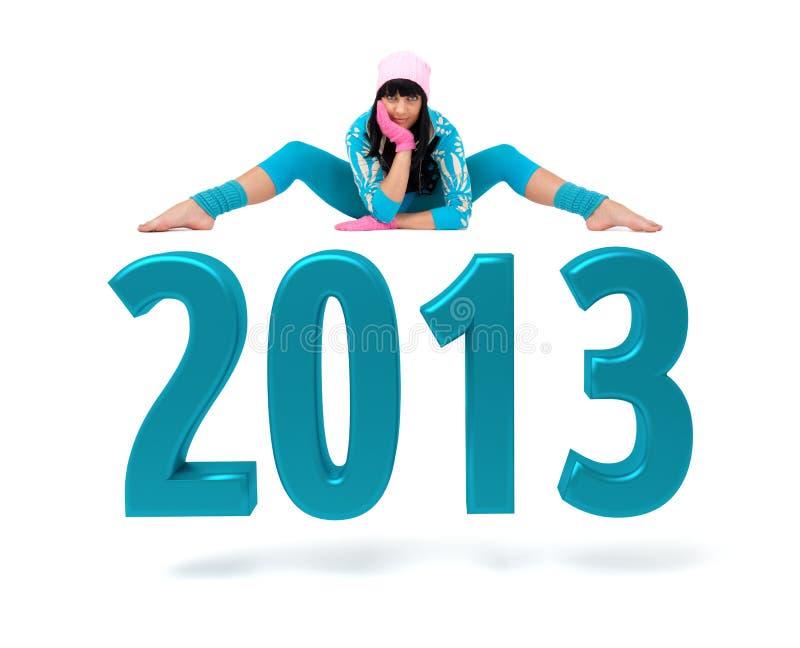 Młoda kobieta i 2013 Nowy Rok znak ilustracji