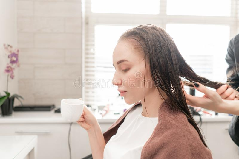 Młoda kobieta i fryzjer z fan robi gorącemu tytułowaniu przy włosianym salonem zdjęcie royalty free
