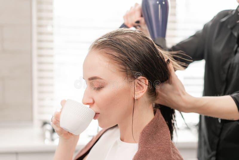 Młoda kobieta i fryzjer z fan robi gorącemu tytułowaniu przy włosianym salonem obraz royalty free