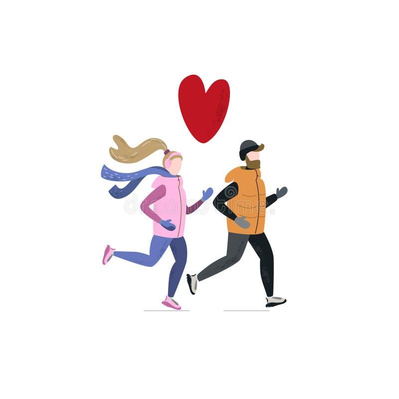 Młoda kobieta i mężczyzna biega wpólnie w zima zimnym sezonie Handdrawn wektorowa ilustracja ilustracja wektor