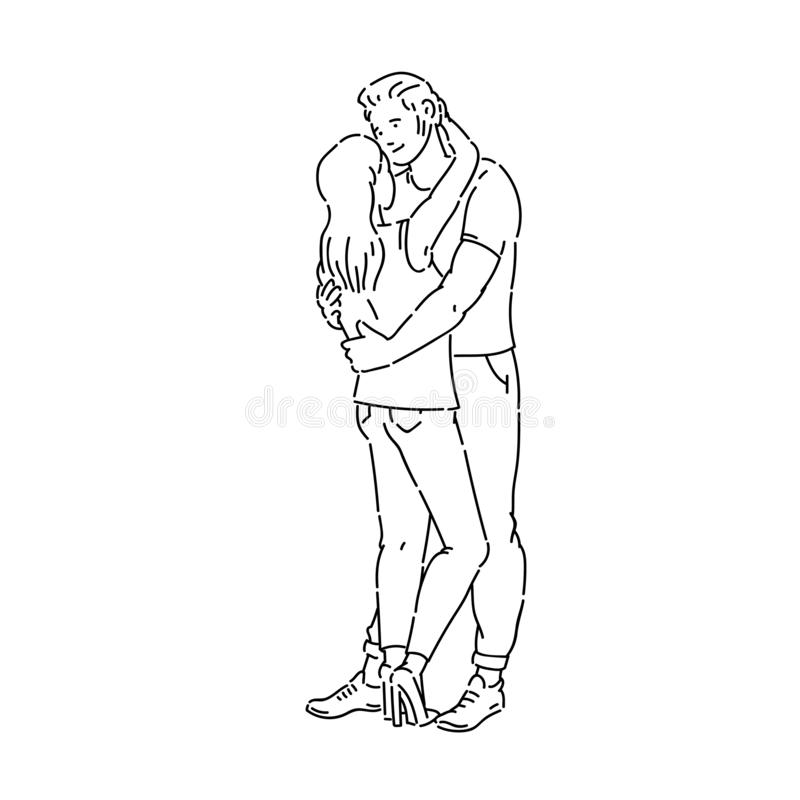 Młoda kobieta i mężczyzna dobieramy się przytulenie kreskowej sztuki czerni wektorowy biały nakreślenie odizolowywającą ilustracj royalty ilustracja