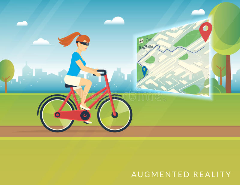 Młoda kobieta jedzie rower i widzii rowerową ścieżkę na wisząca ozdoba zwiększającej rzeczywistości mapie ilustracji