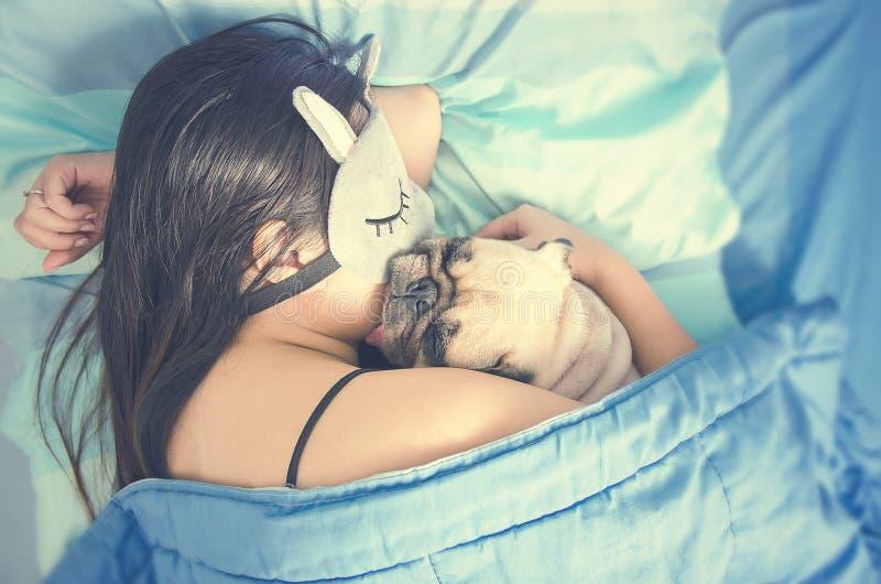 Młoda kobieta jest kłamająca i śpiąca z ślicznym mopsa psa szczeniakiem w łóżku zdjęcie stock