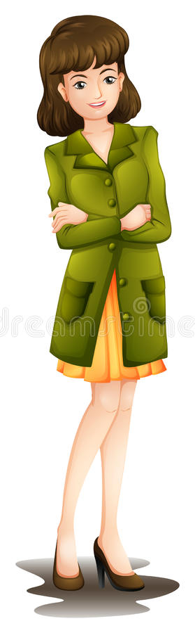 Młoda kobieta jest ubranym zielonego blezer ilustracji